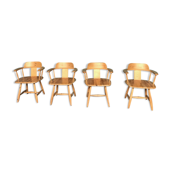 Selency Set de 4 fauteuils scandinaves en pin