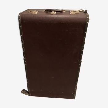 Valise roulante cuir bordeaux