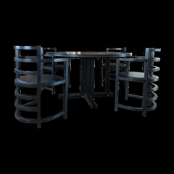 Table frêne noire avec 4 fauteuils
