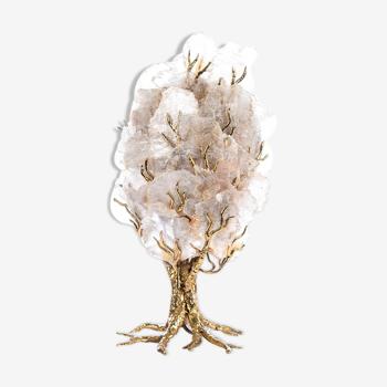 Lampe en cristal et laiton style Henri Fernandez
