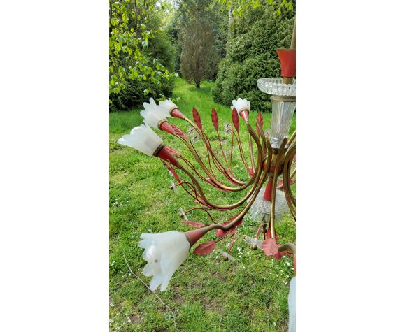 Lustre des années 50 10 tulipes en verre laiton et métal laqué rouge