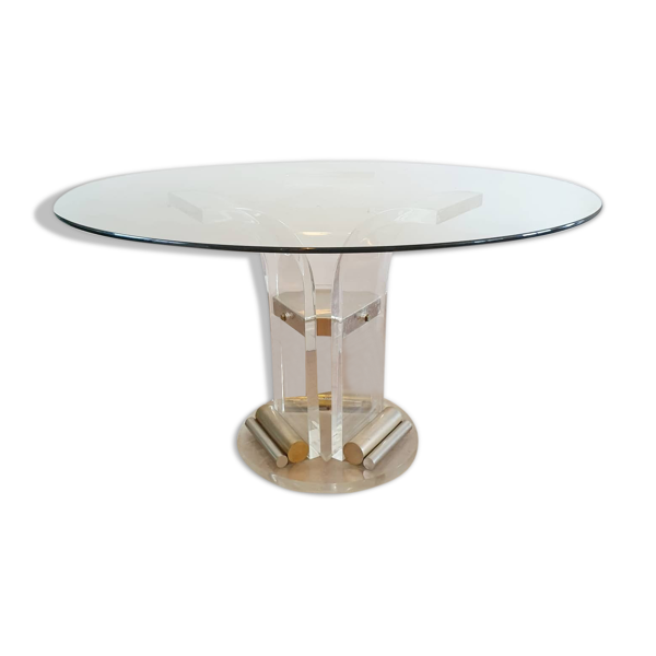 Selency Table à manger ronde Belgo Chrom