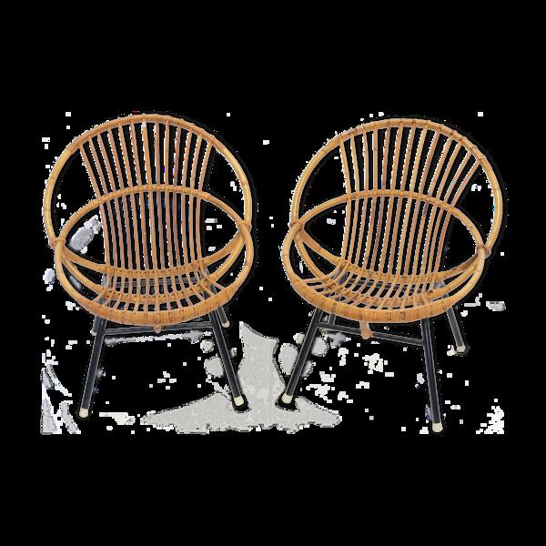 Paire de fauteuils coquille en rotin et métal 1960