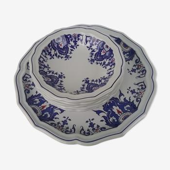 Service à fruits composé d un plat et 5 coupelles décor Rouen