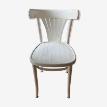 Chaise bistrot laqué blanche vintage
