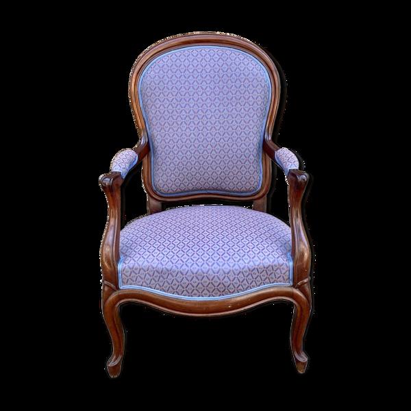 Fauteuil Napoléon III en acajou - fin XIXème