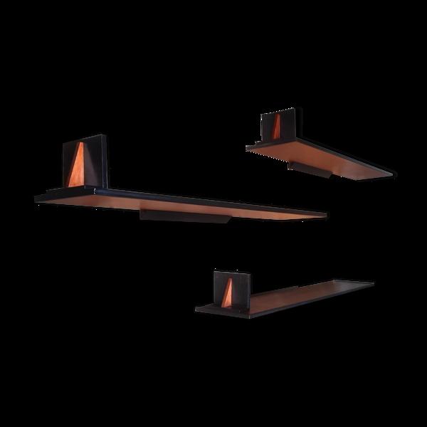 Lot de 3 étagères flottantes design belge, 1960