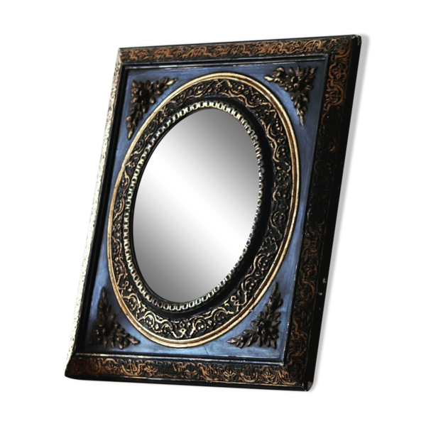 Miroir noir et doré Napoléon III 45x51cm