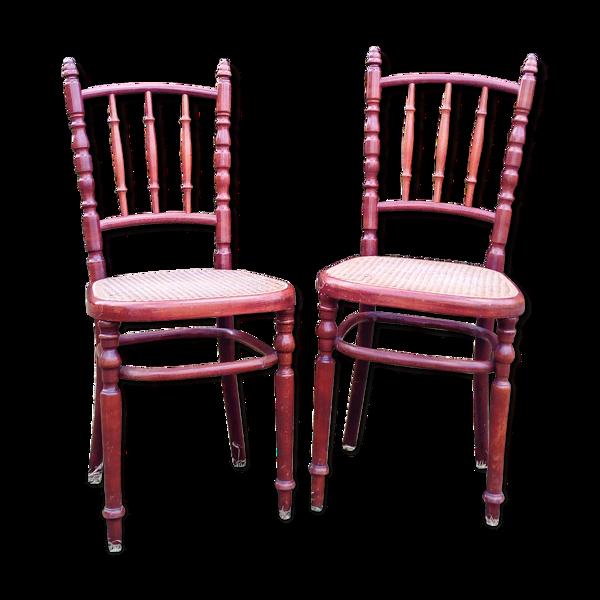Duo chaises fischel teinte acajou