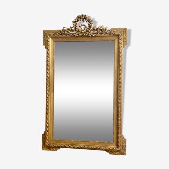 Miroir ancien louis Philippe fronton doré couronne laurier cheminée 81x130cm