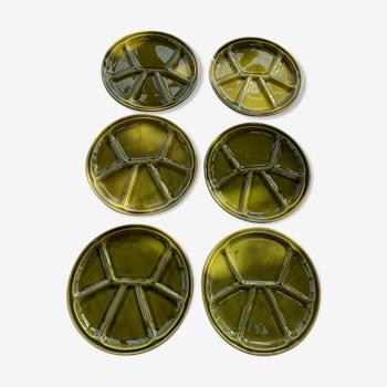 6 assiettes en céramique émaillée verte Gien France vintage 1970