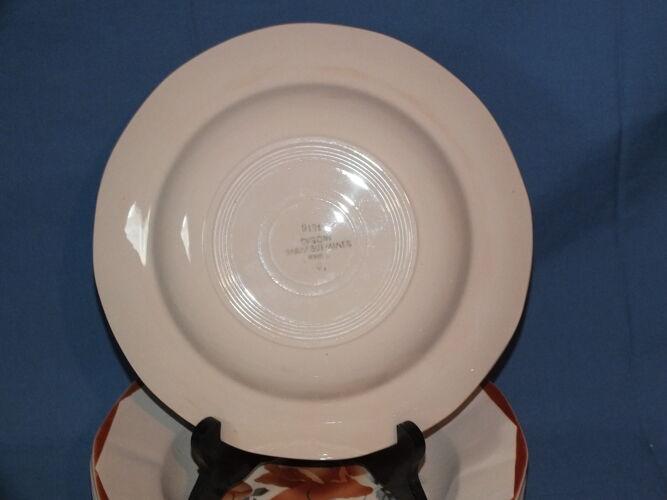 5 assiettes creuses Digoin Sarreguemines rose poudré décor 9181