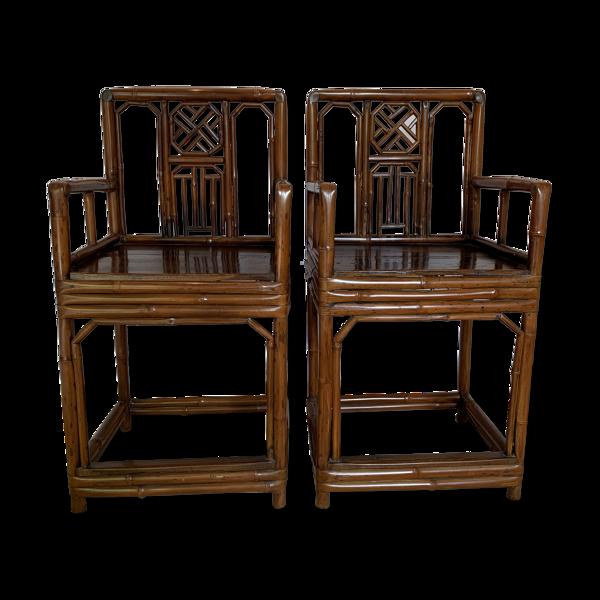 Paire de fauteuils chinois en bambou