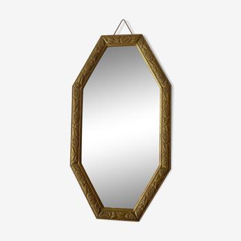 Miroir octogonal doré art déco 45x81cm