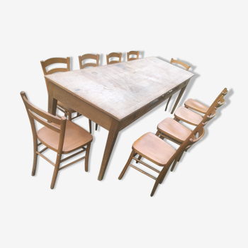 Table bistrot et 10 chaises luterma