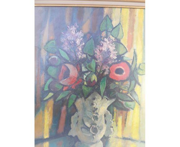 Huile sur toile encadrée bouquet de fleurs  signée Philippe Marie Picard numérotée758 71 X 62 cm
