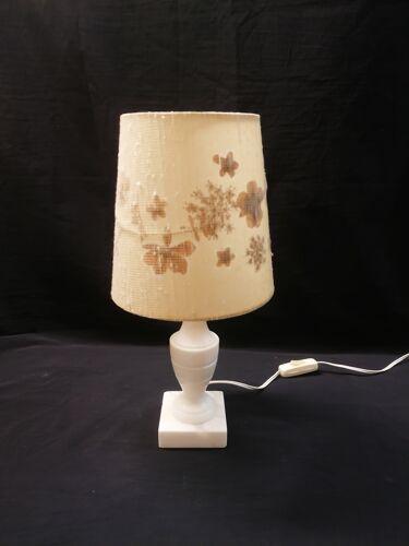 Pied de lampe à poser vintage - pied marbre onyx - abat-jour inclusion fleurs séchées - 1950