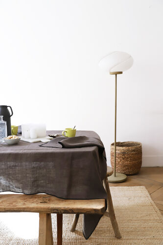 Nappe et serviettes marron en lin upcyclé