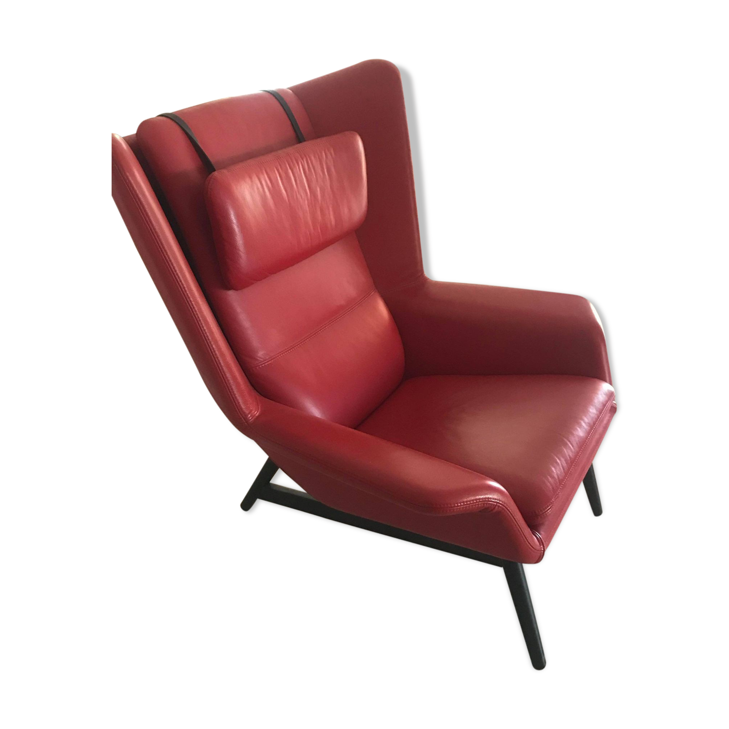 Fauteuil cuir rouge design