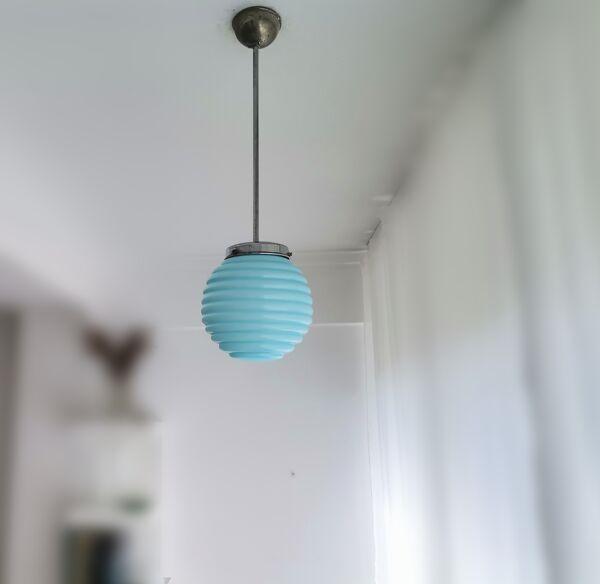 Art déco bleu nervuré en verre 50s plafonnier globe lampadaire