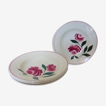 Lot de 4 assiettes creuses vintage du Printemps Paris modèle Essonnes en porcelaine