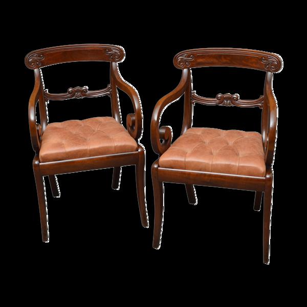 Selency Paire de chaises de taille d'acajou de William IV
