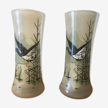 Lot de 2 vases en verre peint JEM