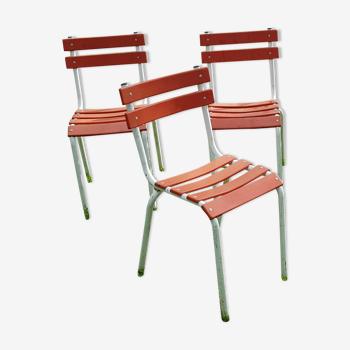 Set de 4 chaises vintage métal orange