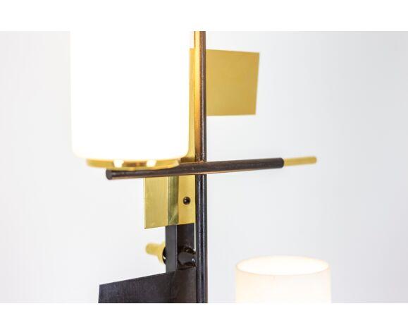 Lampadaire à trois lumières en métal laqué et laiton, Maison Arlus, années 1960