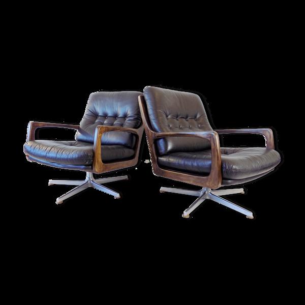 Set de fauteuils Eugen Schmidt en cuir noir pour Soloform