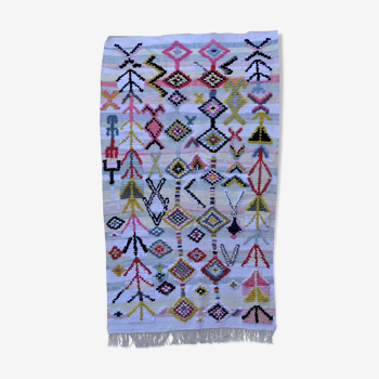 Tapis marocain berbère authentique Kilim Boucherouite 130x120cm