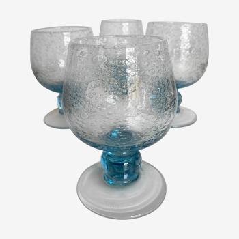 Set de 4 verres gobelets à pied en verre bullé de Biot 1960