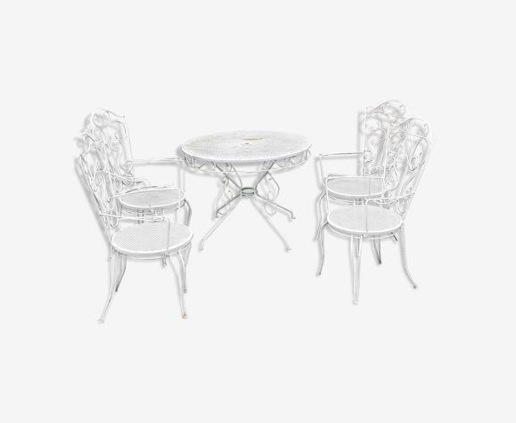 Salon de jardin fer forgé 4 fauteuils vintage xxeme