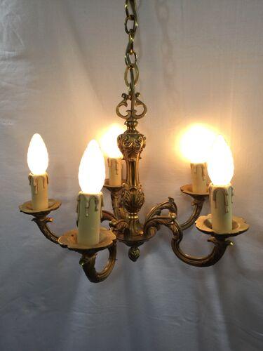 Lustre en bronze à 5 lumières