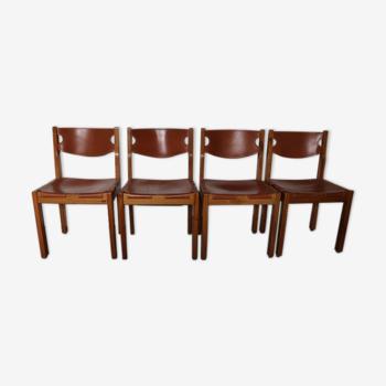 4 chaises maison Regain orme et cuir