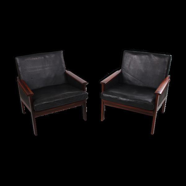 Ensemble de fauteuils Capella en cuir noir par Illum Wikkelsø 1958