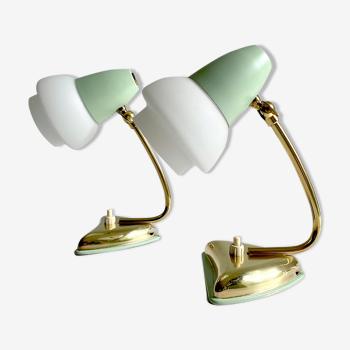 Paire de lampes de table ou de chevet, laiton et verre, années 50