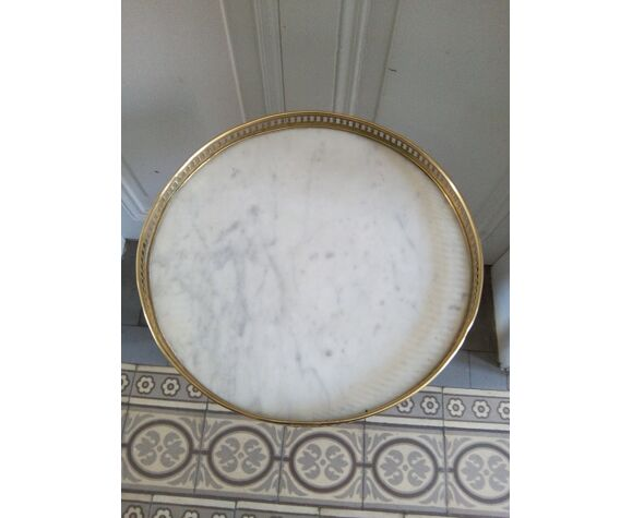 Guéridon chêne et marbre style Louis XVI