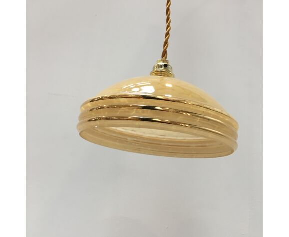 Yellow Clichy glass suspension and golden eder
