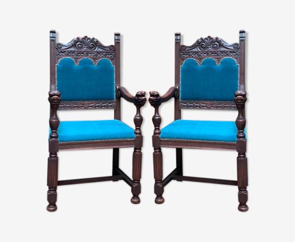 Paire de fauteuils de style Renaissance