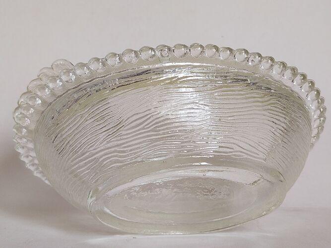 Terrine plat de présentation poule en verre moulé vintage