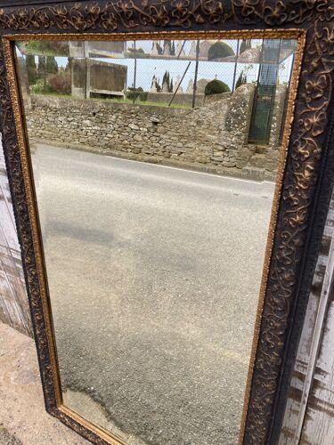 Miroir 1900 noir mat et doré - 136x82cm