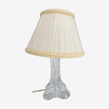 Lampe en cristal annees 1960 avec son abat jour sculpture  cristal france