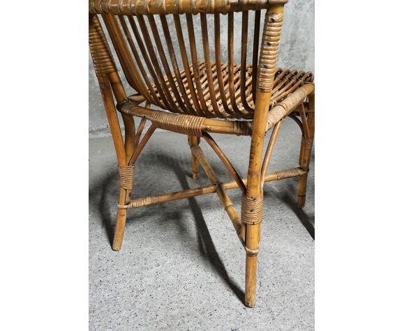 Paire de chaises en rotin tressé vintage 1960