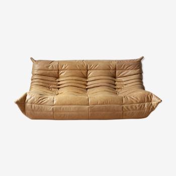 3 seater Togo camel leather sofa by Michel Ducaroy for Ligne Roset