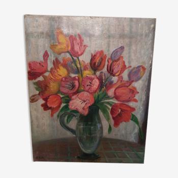 Peinture vintage bouquet de tulipes
