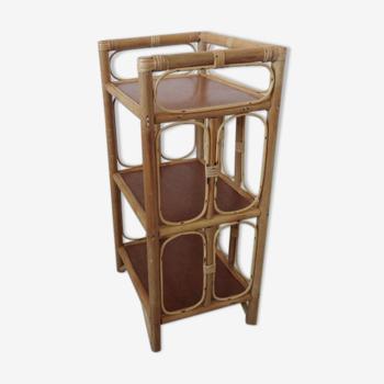 Table de chevet en rotin bambou années 60 70