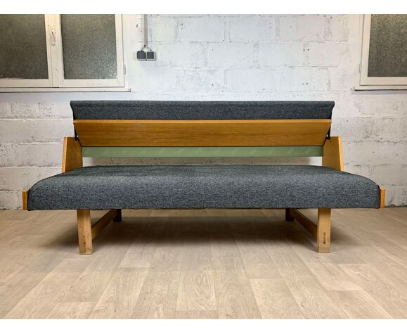 Scandinavian daybed sofa in oak Hans J. Wegner model GE-258 for Getama, 60s