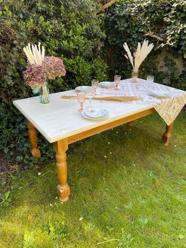 Table de ferme vintage en chêne 180cm