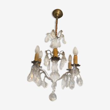 Lustre 6 feux à pampilles de cristal sur monture en bronze style Louis XV